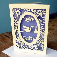 #papercraft #card - New Baby Laser Cut Card  by Pogofandango