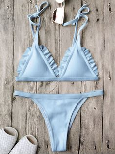 $20.49 Rib Textured Frilled String Bikini Set - BLUE M