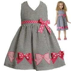 Bonnie Jean TODDLER Girls 2T-4T BLACK WHITE PINK GINGHAM-CHECK BOW BORDER HEM SEERSUCKER HALTER Spring Summer Girl Party Dress