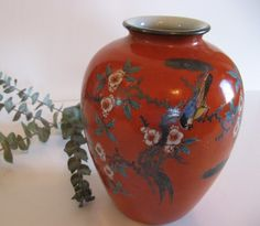 Red Japanese Porcelain Vase  Vintage Hand Painted  Asian by Anidar, $22.00