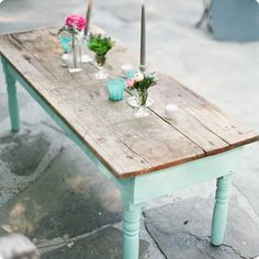 Ooh! Events Rentals Vintage Wooden Coffee Table | Creative wedding planning and event rentals in Charleston, SC and Beaufort, Bluffton, Sava...