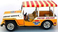 1950s JAPAN UNITED AIRLINES AIRPORT SERVICE JEEP TIN LITHO FRICTION~~