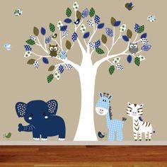Jungle wall decal tree giraffe,elephant,monkey nursery wall decal sticker vinyl tree jungle decals