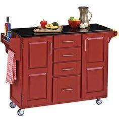 red kitchen islands | Kitchen Carts - Mix and Match Red Kitchen Cart Cabinet w/ Black ...