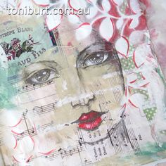She's emerging from the page in my art journal - mixed media work in progress, acrylics, pencil, vintage papers.
