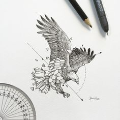 Finest Eagle Tattoo Designs And Concepts For Males and Girls With Meanings. Kunst Tattoos, Bild Tattoos, Geometric Drawing, Geometric Shapes, Geometric Animal, Geometric Tattoo Eagle, Geometric Tattoo Design, Falke Tattoo, Hirsch Tattoo