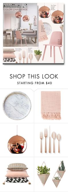 """Pretty Pastel Pink Dining Room Decor"" by voguefashion101 ❤ liked on Polyvore featuring interior, interiors, interior design, home, home decor, interior decorating, Caravan, Surya, Tom Dixon and Kate Spade"