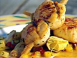 Sugarcane Skewered Sea Scallops with Mango Hearts of Palm Slaw and Scotch Bonnet Sugarcane Syrup Recipe