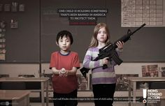 """Moms Demand Action - Kids in ads are very effective, and this is no exception. Usually kids are used to add a cute or friendly feel to an ad; in this one, the kids make the ad 100X more serious. The viewer sees one kid with a gun, another with a chocolate egg, and is asked """"which one is illegal?"""" It is an effective, indirect call to action."""