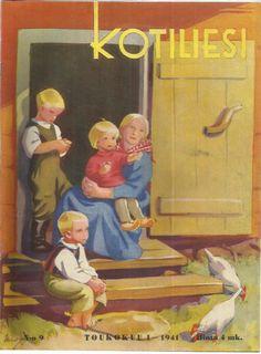 Kotiliesi Magazine cover by Martta Wendelin, Finland Vintage Magazines, Vintage Postcards, Stone Art, Scandinavian Design, Drawing S, Finland, Cover Art, Childrens Books, Illustrators