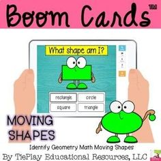 BIoom Cards Identify geometry shapes with these fun moving math shapes. Learners identify 15 shapes in this multiple choice lesson. Shapes include triangle, star, square, semicircle, rectangle, parallelogram, oval, rhombus, circle, heptagon, hexagon, pentagon, octagon, nonagon and decagon. This resource can be used as an math center station and for your students to practice their basic math skills in a distance learning environment. Online Schooling, Teacher Helper, Third Grade Math, Basic Math, Multiple Choice, Creative Teaching, Numeracy, Math Skills, Educational Videos