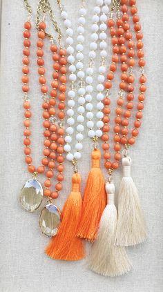 OSU Orange gameday jewelry, gameday gemstone necklace, gemstone tassel necklace…