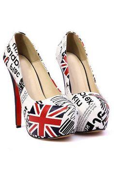 Fashion Letters Print High-heeled Shoes