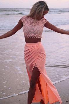 Tow Pieces Prom Dress,Lace Prom Dress,Split Prom Dress,Fashion Prom Dress,Sexy Party Dress, New Style Evening Dress