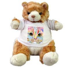 plush stuffed cat with Claudia Sanchez Cat Art t-Shirt - Morris Face Crazy Cat Lady, Crazy Cats, Cat Art, Original Artwork, Plush, Teddy Bear, Toys, Animals, Things To Sell