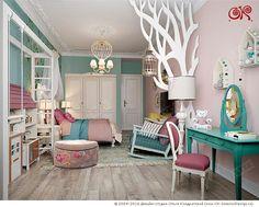 Интерьер милой детской комнаты для девочки n   http://www.ok-interiordesign.ru/wp-content/gallery/nurseries-3d/dizayn-detskoy-dlya-devochki-1.jpg
