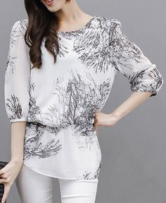 $11.13 Chic 3/4 Sleeve Ink Painting Printed Chiffon Blouse For Women