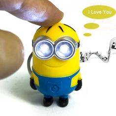 Cute Cartoon Movie Mini Led Lighting Minion Toys Keychains Doll PVC Action Figure Toys With Sound Children Kids Gifts Minion Toy, Despicable Me 2 Minions, Cute Minions, My Minion, 3d Figures, Action Figures, Cartoon Movies, New Year Gifts, Led Flashlight
