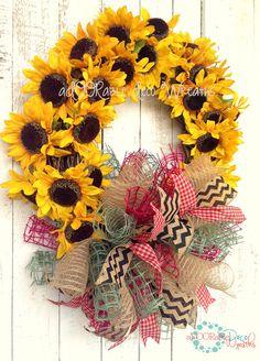 Sunflower Grapevine Wreath by aDOORableDecoWreaths on Etsy, $69.99