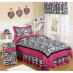 Hot pink zebra print beadspread for teens decor (Ava's room)