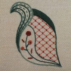'Autumn Leaf' Jacobean Crewel Work Embroidery, nice small design