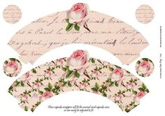 Shabby Single Rose on Cream Cupcake Wrappers on Craftsuprint designed by Jean King - Shabby Single Rose on Cream Cupcake Wrappers. These cupcake wrappers will fit the normal sized cupcake cases or can easily be adjusted to fit, just cut out