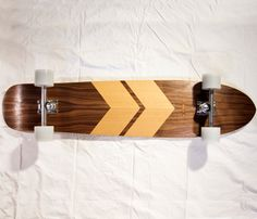 {Chevron Longboard} gorgeous mix of maple, walnut & douglas fir wood makes this skateboard a work of art!