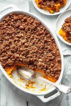 Sweet potato casserole velvety smooth sweet potatoes topped with the most amazing sweet crunchy pecan and brown sugar streusel. A must have on the Thanksgiving or holiday table. Sweet Potato Rolls, Best Sweet Potato Casserole, Sweet Potato Souffle, Sweet Potato Recipes, Sweet Potato With Pecans, Sweat Potato Casserole, Sweet Potato Side Dish, Sweet Potato Dessert, Chicken Recipes