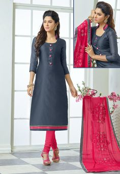 Vibrant Grey & Pink Salwar Suit Dress Material-1011.