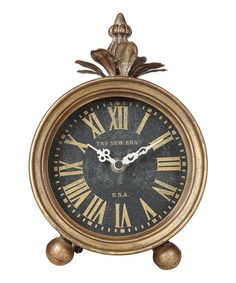 Another great find on #zulily! Gold Metal Table Clock #zulilyfinds