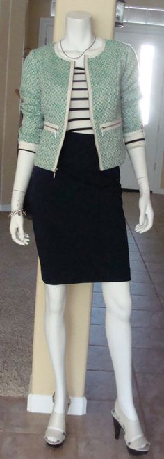 Daily Look: CAbi Spring '14 Clover Tweed Jacket and Newport Skirt with vintage Playtime Tee and Michael Kors sandals