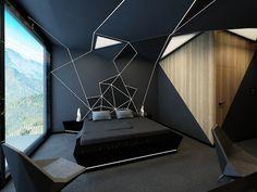 Design bedroom in origami style. Bedroom design in origam . Design bedroom in origami style. Bedroom design in origami style. Luxury Bedroom Design, Bedroom Bed Design, Home Room Design, Home Decor Bedroom, Home Interior Design, Bedroom Designs, Bedroom Ideas, Cozy Bedroom, Minimalist Bedroom