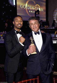 Creed costars Michael B. Jordan and Sylvester Stallone celebrated his big win.