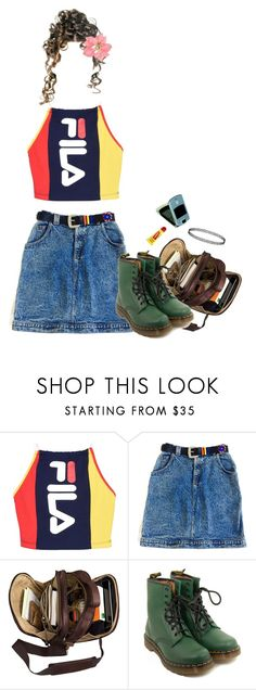 """""""We're Gonna be Late, Sylvia!"""" by owlenstar on Polyvore featuring Fila, Dr. Martens, Carmex and Topshop"""