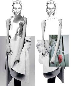 Fashion Portfolio layout; fashion collage illustration; fashion sketchbook; fashion design development process // Connie Blackaller