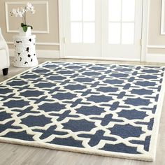 Safavieh Handmade Cambridge Moroccan Navy Geometric Wool Rug (5' x 8') | Overstock.com Shopping - The Best Deals on 5x8 - 6x9 Rugs