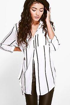 Donna Bold Pinstripe Chiffon Shirt