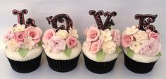 'Love' cupcakes - shabby chic style.  www.icingbliss.blogspot.com www.icingbliss.co.uk