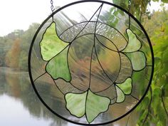Stained Glass Hanging Gingko Leaves