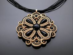Beige - gold - black Soutache necklace with Onyx.