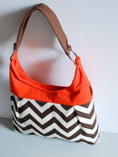 Chevron Brown and Orange Pleated Purse by LucyJaneTotes on Etsy, $65.00
