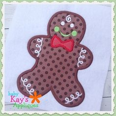 Gingerbread Boy Applique - 4 Sizes! | What's New | Machine Embroidery Designs | SWAKembroidery.com Baby Kay's Appliques