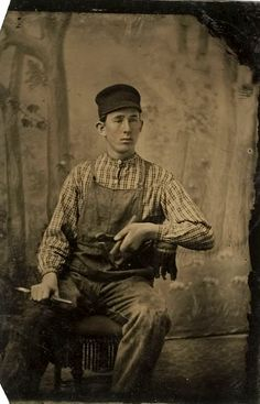 ca. 1860's-80's, [tintype occupational portrait of a seated stone mason] via Cowan's Auctions