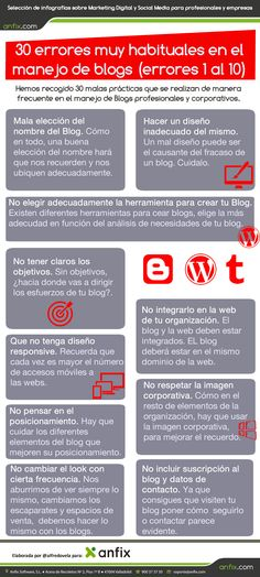 #Infografia #CommunityManager 30 errores en el manejo de blogs (errores 1 al 10). #TAVnews