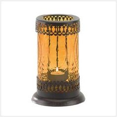 Standing Amber Glass Candle Lantern Free Shipping!