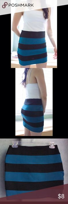 Black and Teal Striped Mini Skirt New and never worn. Versatile and looks great with basic white t-shirts Skirts Mini