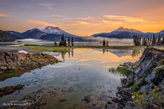 Morning at Sparks Lake with Mt. Bachelor and Broken Top in the background. Central Oregon. ------------------------ @alicedoggett
