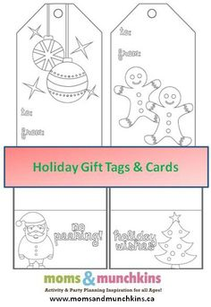 Printable Christmas Cards To Color - free printable Christmas cards and gift tags for kids to color & attach to gifts