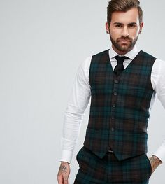 Heart & Dagger Slim Suit Vest In Plaid - Green