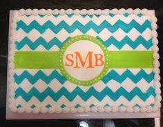 Chevron Sheet Cake | Monogram & chevron sheet cake!!